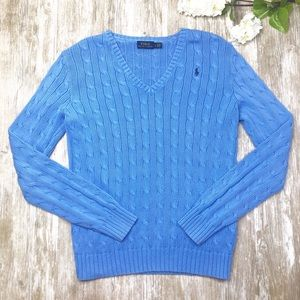 {POLO Ralph Lauren} Blue V-Neck Cable Knit Sweater
